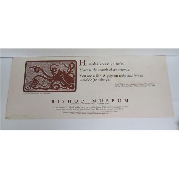 "Hawaiian Prose & Poetical Sayings Poster, Bishop Museum 1983 11"" x  28"" Water Damage"