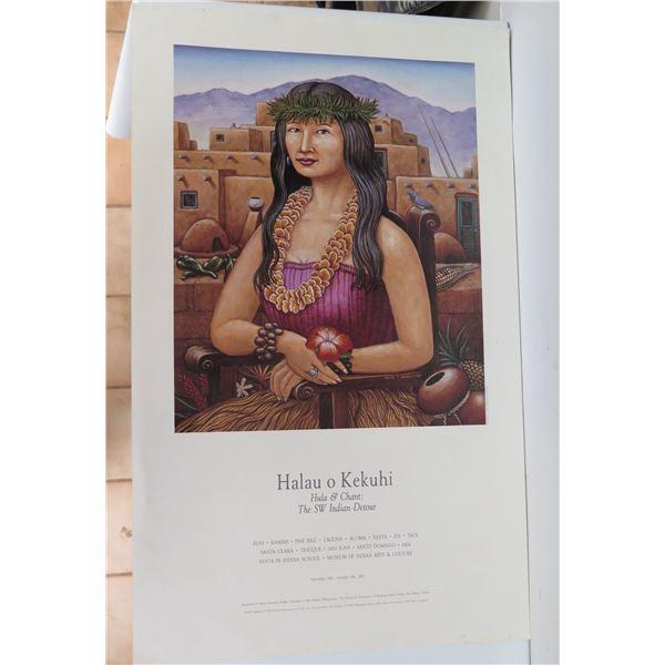 "American Indian ""Halau o Kekuhi"" Poster, Hula Dancer in New Mexico 18"" x 30"""