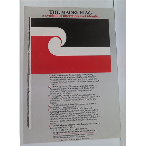 "The Maori Flag Poster, Winners of National Maori Flag Competiton 1990 16"" x 23.5"""