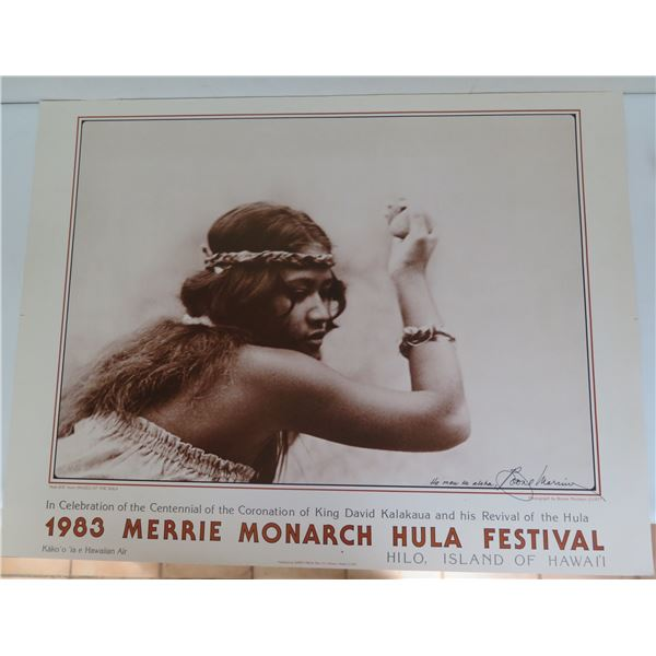 """1983 Merrie Monarch Hula Festival Poster, Signed by Boone Morrison 26"""" x 20"""""""