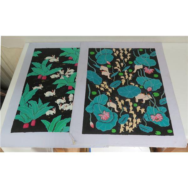 """Qty 2 Art Print, Black/Green/White Rabbits, Ducks 15.5"""" x 20"""""""