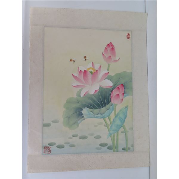 """Chinese Art, Painting Lotus Blossom w/Bees Maker's Mark 22"""" x 17"""""""