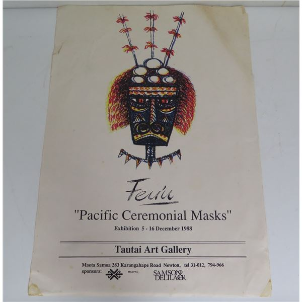 """Poster, """"Pacific Ceremonial Mask"""" 12/16/88 11.5"""" x 18"""""""