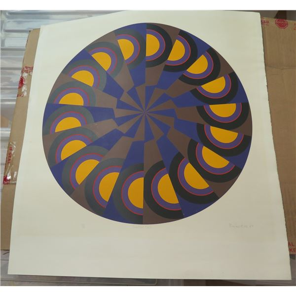 """Print, """"Sector No. 2"""" Geometric Limited Edition Signed Brian Rice 24"""" x 22.5"""""""
