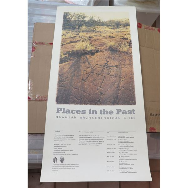 """Poster, """"Places in the Past"""" Bishop Museum 1987 15.5"""" x 34"""""""