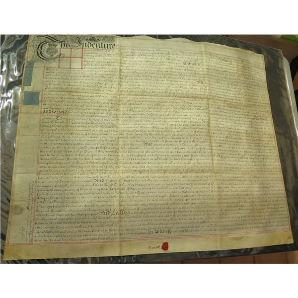 Historical Document with Wax Seal, Signed Waymouth, Dated 1731