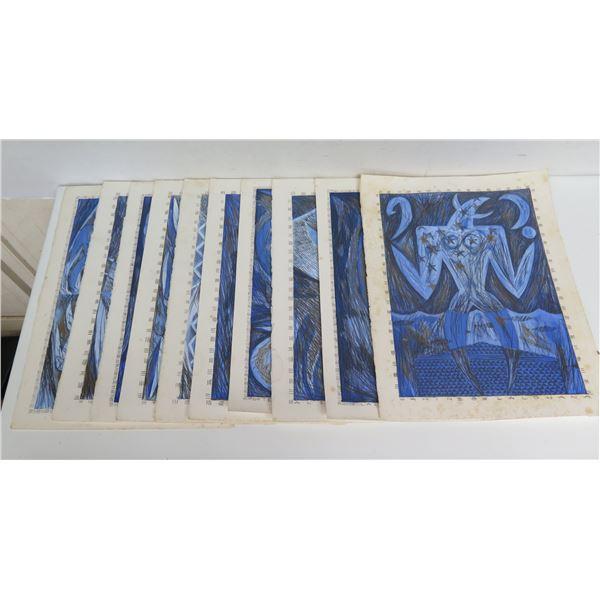 "Qty 10 Hawaiian Art, Painted/Pencil 11.5"" x 15.5"""