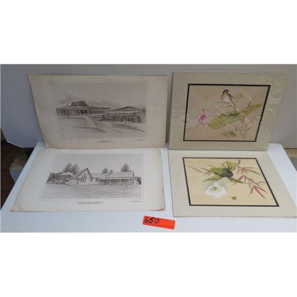 Qty 4 Prints, 2 St Johns College Auckland, 2 Asian Bird & Floral
