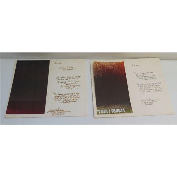 Qty 2 New Zealand Poems w/ Art, Tuiairunga Signed