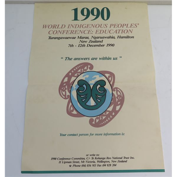 """Poster """"World Indigenous Peoples Conference: Education"""" 1990"""