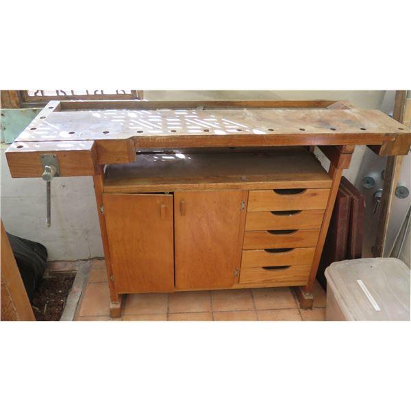 """Wooden Work Bench, 2 Door Cabinet & 5 Drawers, 53"""" x 15.5"""" x 34.5"""""""