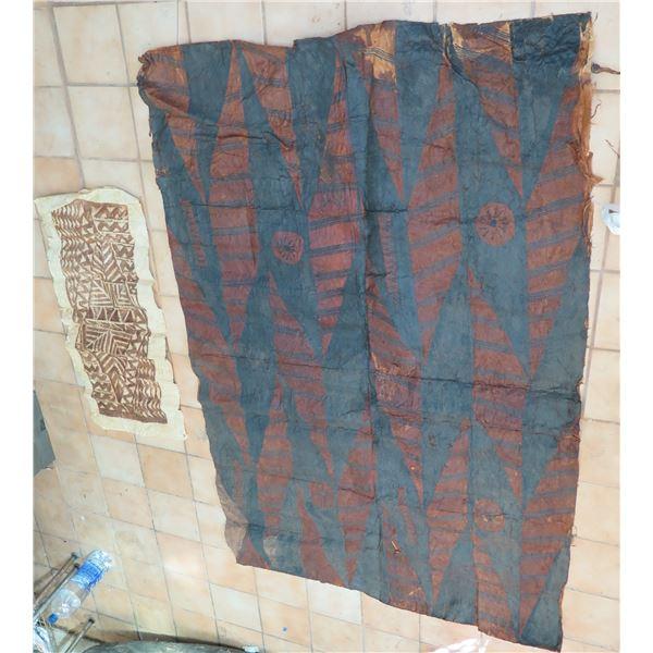 Qty 2 Tapa Cloth, Geometric Design Rust/Navy, Beige/Brown