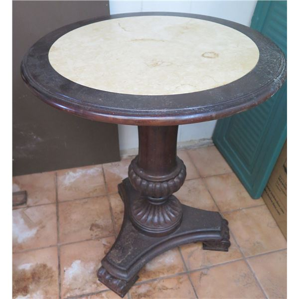 """Wood Side Table w/ Stone Top, 23"""" Dia, 26"""" H (Top Not Connected to Pedestal)"""