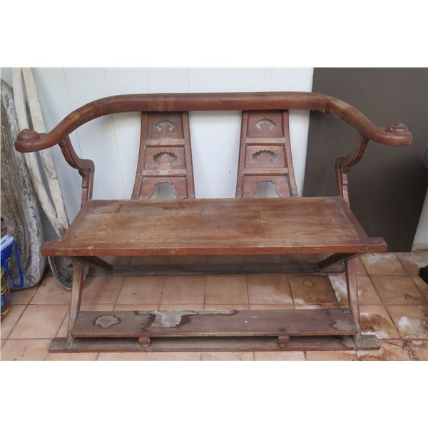 """Chinese Wooden Bench, Carved Arms, Foot Step Connected 48"""" x 17"""" x 34.5"""" H"""