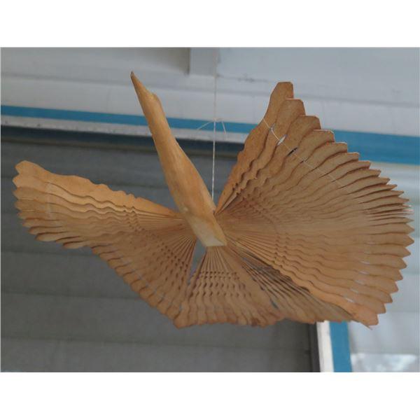 Wooden Hanging Mobile, Carved Duck w/ Fan Wings