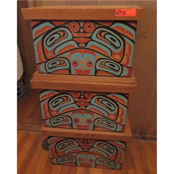 Qty 3 Wooden Stacking Boxes, Cedar Painted Designs, Standing Bear Walking 1993