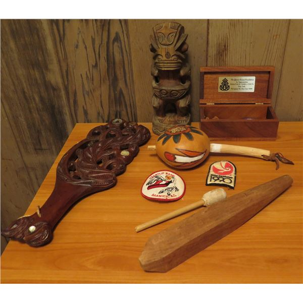 Qty 8 Misc Items, Wooden Carved Club, Tiki, Wooden Box, Gourd Music Instrument, Patches