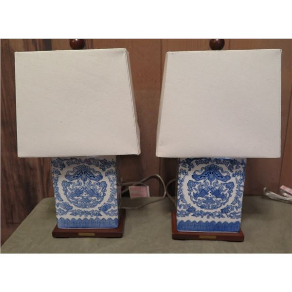 Qty 2 Chinese Porcelain Lamps w/ Lampshades, Rectangular Blue/White Ralph Lauren
