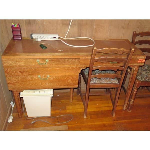 Wooden Desk w/2 Chairs, 3 Drawers Upholstered Seats, Electric Plug, Pen Holder, Green Tiki Necklace,