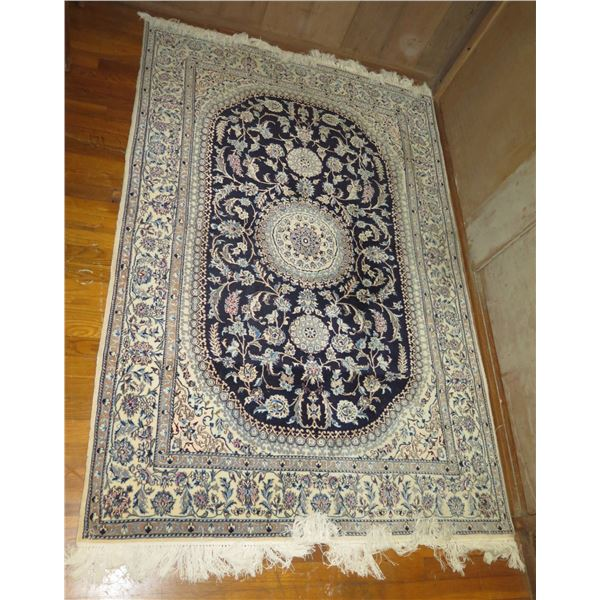 """Persian Rug, Floral White/Blue/Pink/Navy 49"""" x 76"""""""