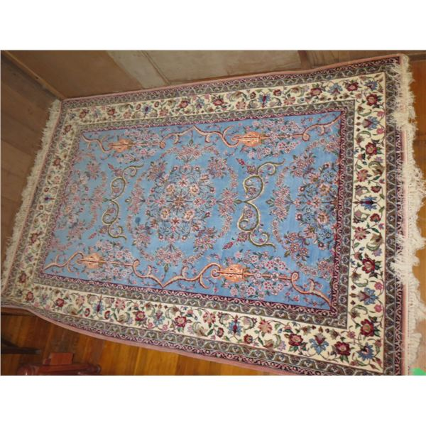 """Persian Rug, Floral Blue/White/Peach/Pink/Red 60"""" x  96"""""""