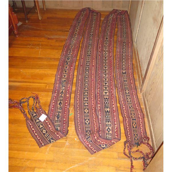 "Woven Tapestry Sash, Red/Black/Cream, Richard Pointon 415"" Long"