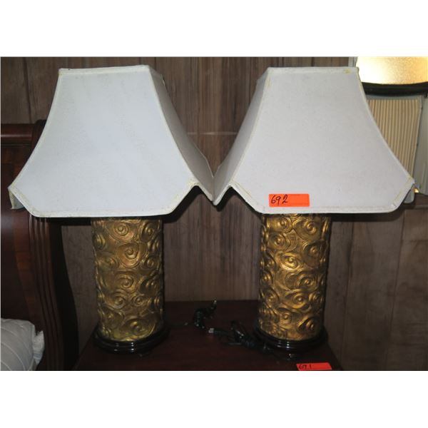 Qty 2 Ceramic Lamps w/ Lamp Shades, Gold Geometric Design (Lampshades Stained)
