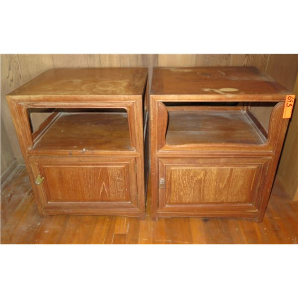 """Qty 2 Wooden Bed Stands w/ Door, 20"""" x 40"""" x 18"""" Numerous Stains"""