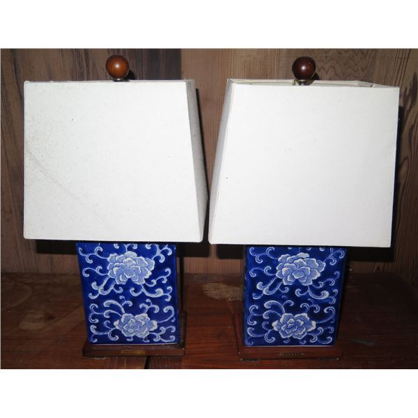 Qty 2 Chinese Porcelain w/ Lampshades, Floral Blue/White Ralph Lauren