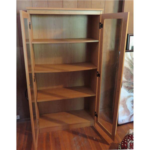 """Glass Door Cabinet w/ 4 Shelves, Composite Wood  31.5"""" x 12"""" x 60"""" H"""