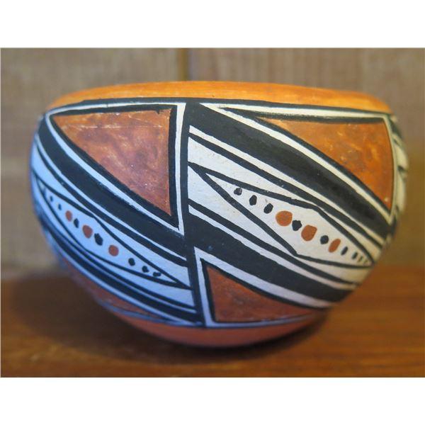 "Native American Indian Bowl Geometric Black/White  Design 3"" Tall (Broken/Glued)"