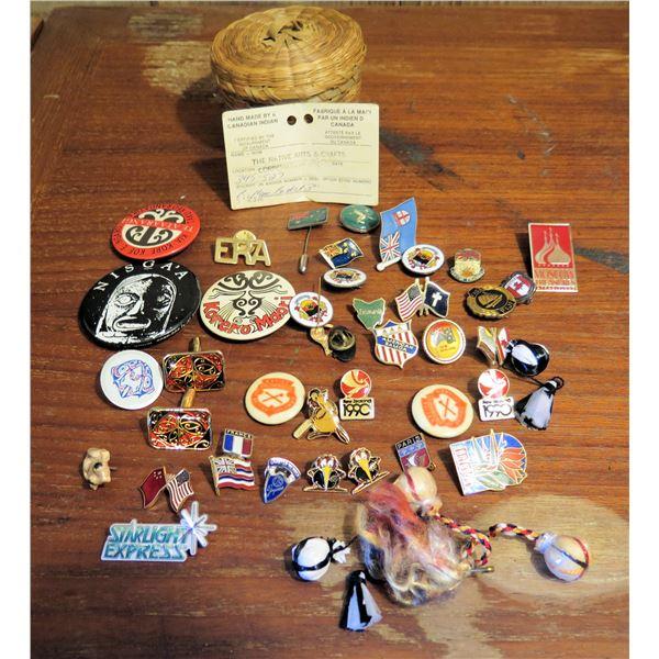 "Native Canadian Indian Basket 3"" Tall, Misc Souvenir Pins"