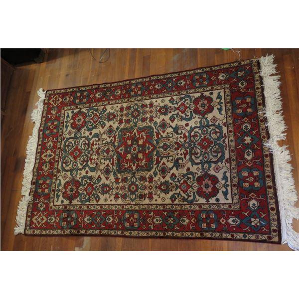 """Persian Rug, Geometric Red/White/Blue/Beige 43"""" x 69"""""""