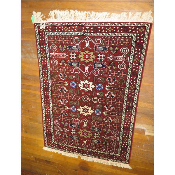 """Persian Rug, Geometric Red/White/Blue/Beige 40"""" x 55"""""""