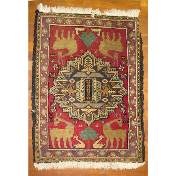 "Persian Rug, Geometric & Animals Red/Tan/Blue/Navy 24"" x 37"""