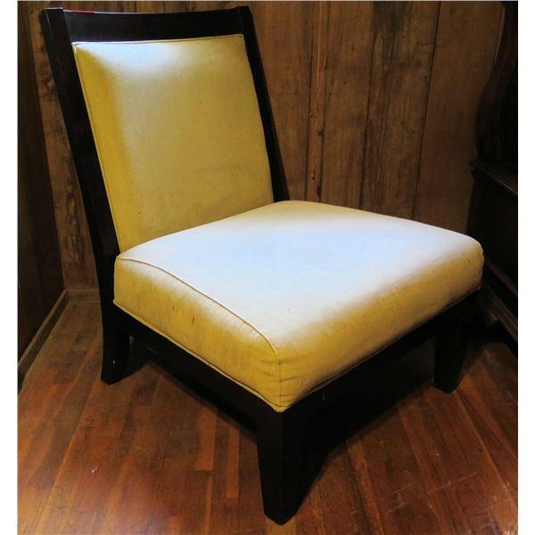 "Upholstered Hurricane Chair, White Fabric 23"" x 27"" x 37.5"" (Knicked Edge)"