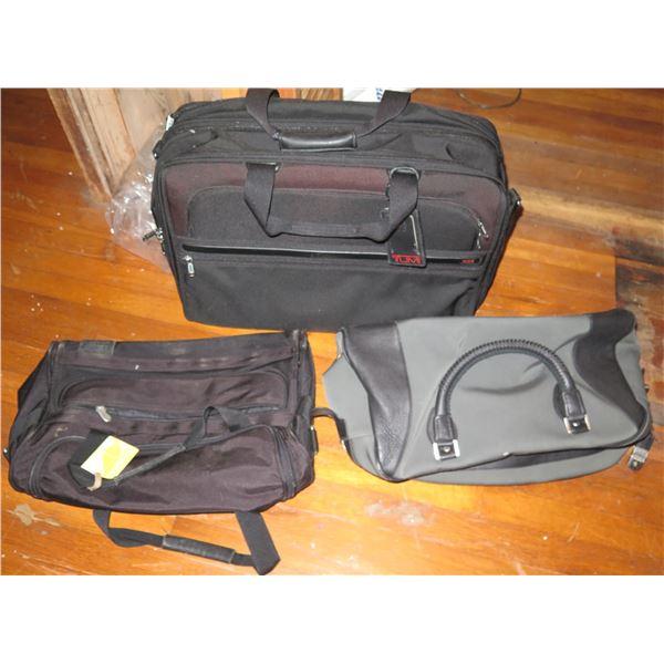 Qty 3 Travel Bags, Tumi Luggage, Black Canvas Duffle Bag, Gray/Black Canvas Carry On w/Lock