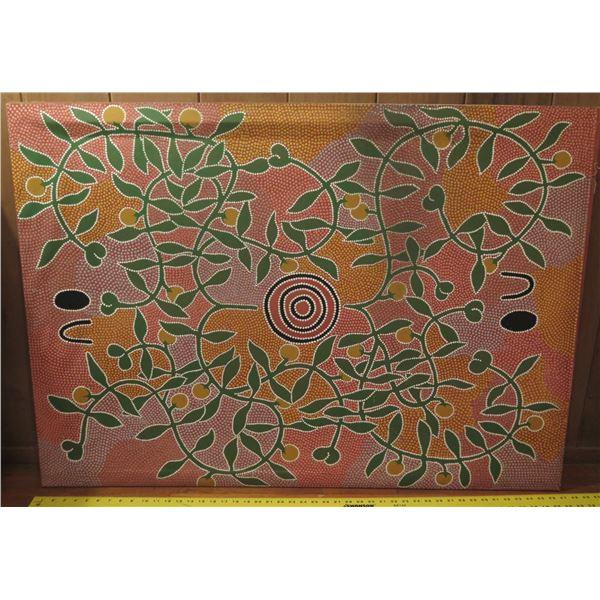 "Australian Aboriginal Painting, ""Munyim Dreaming"" Signed 47"" x 34.75"""