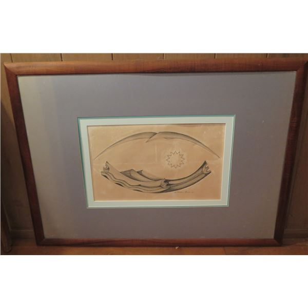 "Framed Art, Graphic Pencil Drawing, Signed Malcom Benham New Zealand 41.5"" x 31"""