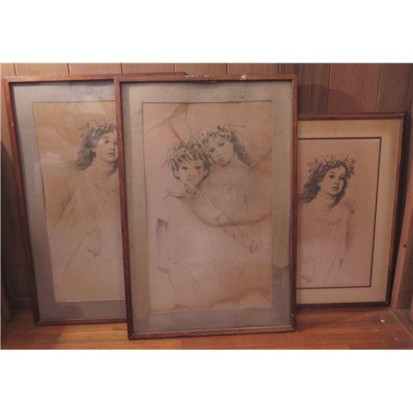 Qty 3 Framed Art, Hawaiian Keiki Pencil Drawings  Signed Stickney (Water Damaged)