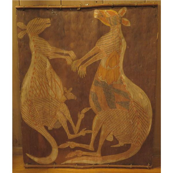 """Fiber Art, Kangaroo Family Painted on Wood 25.5"""" x 30"""""""