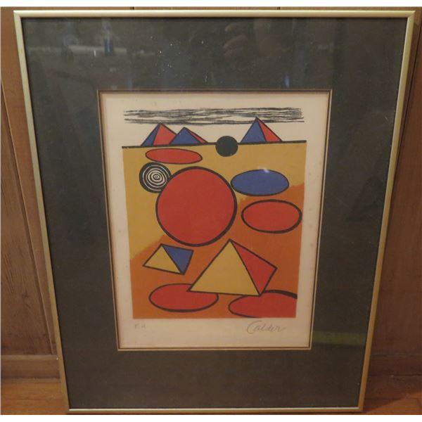 "Framed Art, Lithograph Geometric Red/Blue/Tan/Black Signed Alexander Calder 19"" x  24.5"""