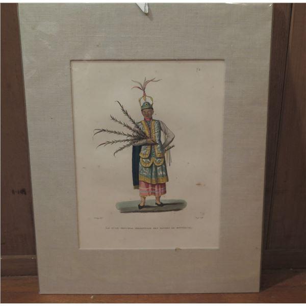 """Framed Art, Print Ile Guam: Principal Personnage Des Danses De Montezuma 1820's 16"""" x 19.75"""""""
