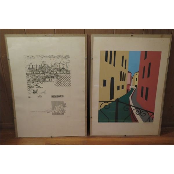 Qty 2 Framed Art,  Black/White Drawing Limited Edition Signed Ralph Fabri, Buildings Print  Signed