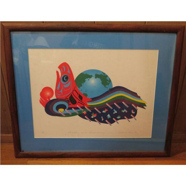 """Framed Art, """"Sky Salmon & Her Splendid Journey"""" Print Limited Edition Signed Marvin Oliver 25"""" x 20"""""""