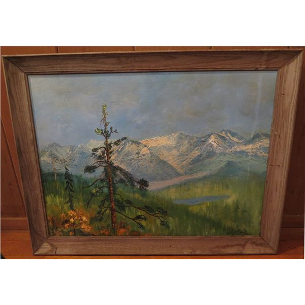 """Framed Art, Landscape Painting, Snow Covered Mountain & Lake Signed 27"""" x 21"""""""