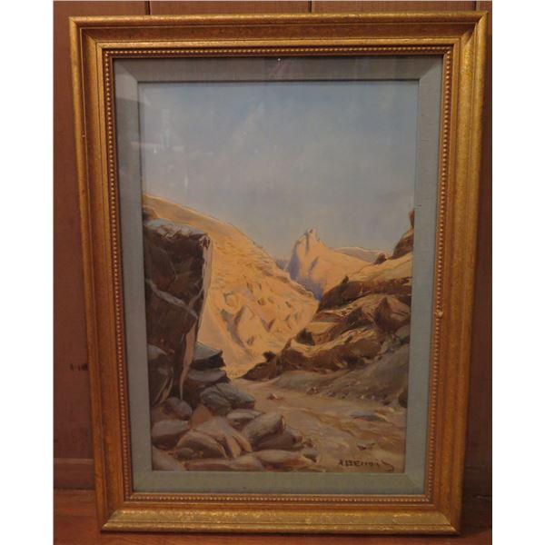 """Framed Art, Landscape Painting, Desert Path Signed a Benais 17.5"""" x 23.75"""""""