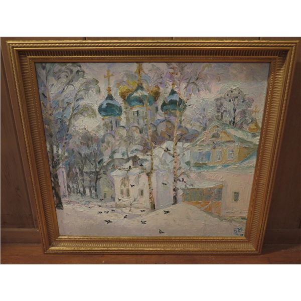 """Framed Art, Temple in the Trees Painting, Blue/White Signed 1997 22"""" x 20.5"""""""