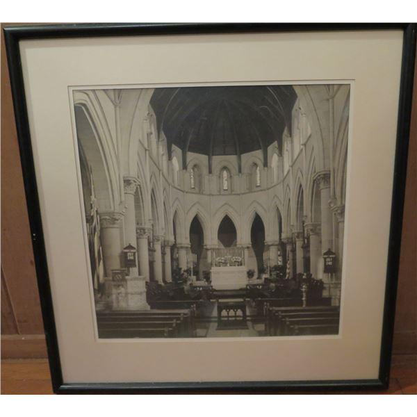 """Framed Art, Vintage Photo Alter in Church, Black/White 20"""" x  21"""""""