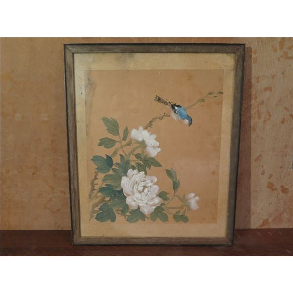 """Framed Art, Bird & Floral Print 17.5"""" x 15"""""""